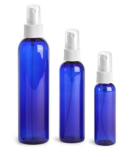 White Bullet Bottle - 4 Oz Plastic PET Bullet Bottle (BLUE) with White Sprayer (Set of 6)
