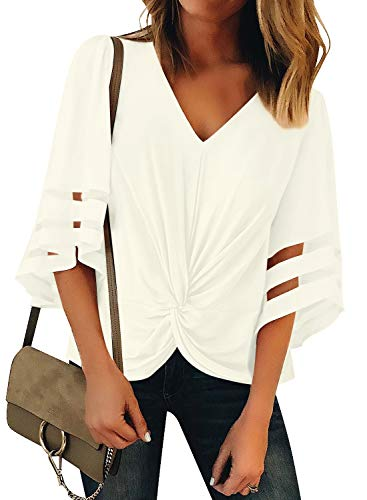 LookbookStore Women's Smmer Loose Vneck Tops Casual Twist Knot Shirt Mesh Panel 3/4 Bell Sleeve Blouse Beige Size X-Large