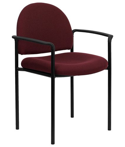 Offex OF-BT-516-1-BY-GG Burgundy Fabric Comfortable Stackable Steel Side Chair with Arms