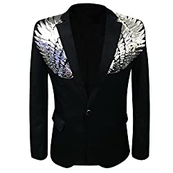 Black Wedding Sequin Wing Stage Jacket