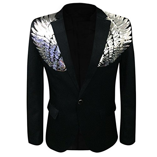 Men's Wedding Sequin Wing Stage Clothes Premium Suit Jacket Blazer Coat Black