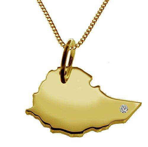 Endroit Exclusif Éthiopie Carte Pendentif avec brillant à votre Désir (Position au choix.)-avec Chaîne-massif Or jaune de 585or, artisanat Allemande-585de bijoux