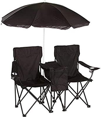 Trademark Innovations Double Folding Camp and Beach Chair with Removable Umbrella and Cooler Black Red Cup Pong CHR-UMB-BL
