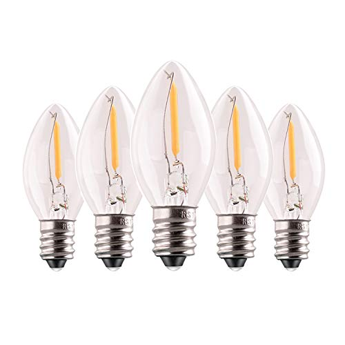 C7 0.5W Light Candle Bulbs, 5w Incandescent Replacements,75 Lumen,E12 Candelabra Base,led Filament Night Bulb, Warm White 2700K,Refrigerator Edison Bulb,Non-Dimmable,5Pack
