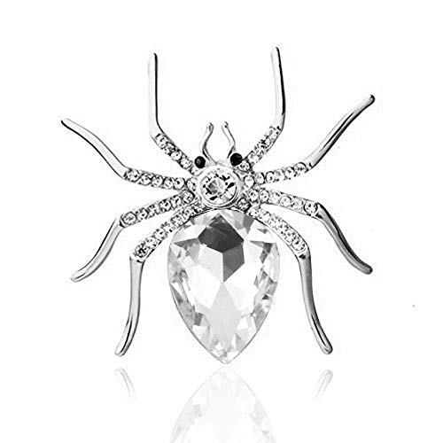 (Reizteko Crystal Rhinestone Spider Fashion Pin Brooch Creative Women Jewelry Accessory Halloween Gift for Women (Silver-Plated)