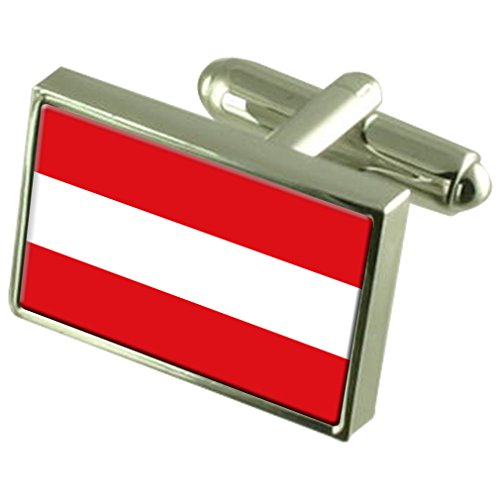 Austria Sterling Silver Flag Cufflinks by Select Gifts
