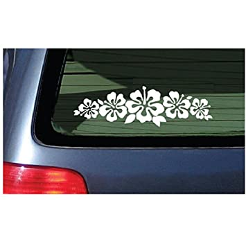 Amazoncom Hibiscus Band Vinyl Sticker White Garland Decal - Vinyl stickers for car windows