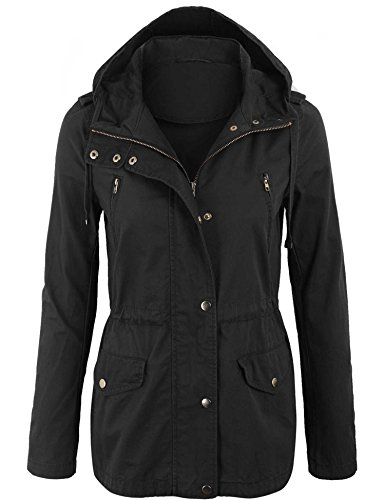 KOGMO Womens Zip up Military Anorak Safari Jacket with Hoodie-L-Black 4 Pocket Military Jacket