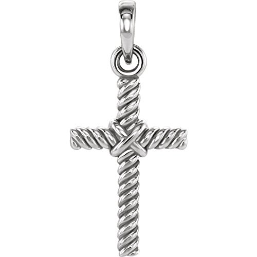 (Beautiful White gold 14K Rope Cross Pendant)