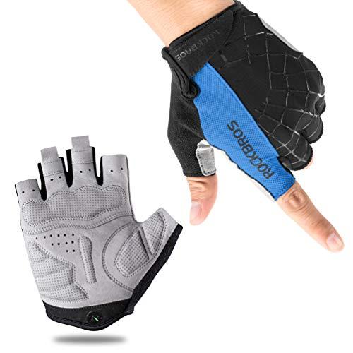 ROCK BROS Bike Gloves Cycling Gloves Half Finger Men Women Mountain Bike Gloves Bicycle Accessories Workout Gloves Shock-Absorbing Pad Anti-Slip Weight Lifting Biking Climbing Exercise Gloves Blue-M
