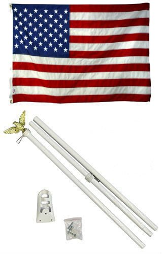 2×3 2×3 USA American 50 Star Flag White Pole Kit Set Residential Commercial BEST Garden Outdor Decor polyester material FLAG PREMIUM Vivid Color and UV Fade Resistant