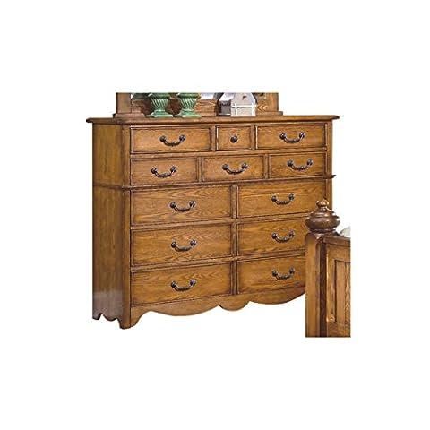 Hamlin Country 12 Drawer Dresser in Natural Oak Wood - Lodge Bedroom Furniture