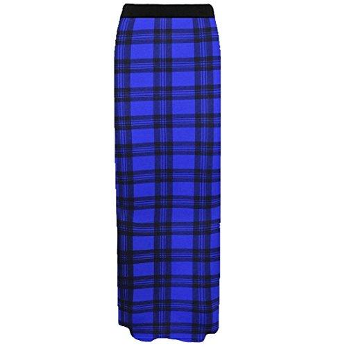 Femmes Maxi Nouveau Gitan Longue Bodycon Bleu Dames Jersey lastique Waist Jupe Tartan Stretchy Janisramone Imprim dqZpdP