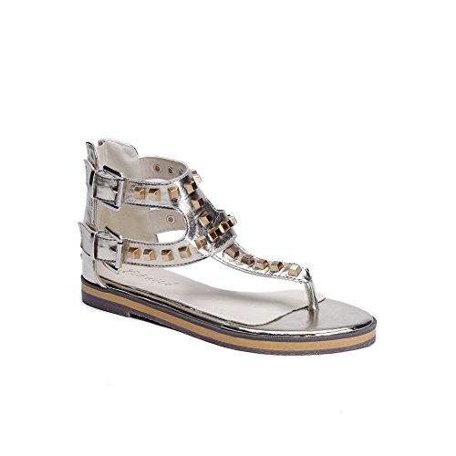 AllhqFashion Women's Blend Materials Solid Zipper Open Toe Low Heels Sandals Gold GKzqF