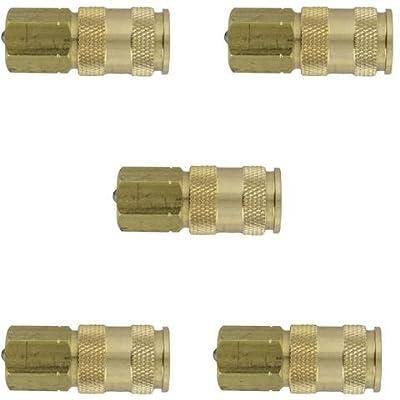 Milton 764 V-Style Hi-Flo Coupler Body - Brass, 1/4in. FNPT, 5 Pack New