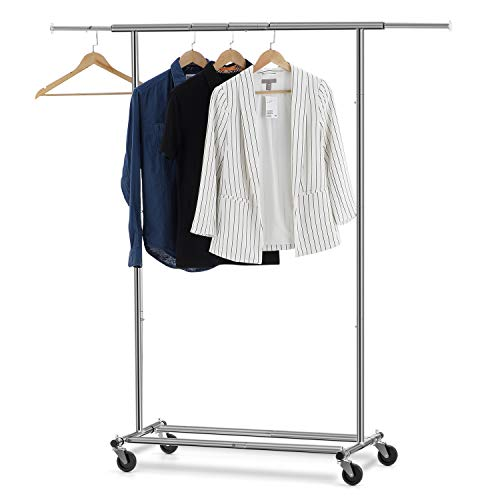 - Bextsware Clothes Garment Rack, Extendable Collapsible Clothing Storage Shelf Rolling Rack on Wheels with Adjustable Clothes Rack Hanging Rail, Commercial Grade Rack Holds up to 150 lbs, Chrome