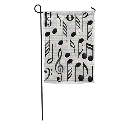 Semtomn Garden Flag Note Collection of Music Symbols Bass Notation Line Retro Abstract Home Yard Decor Barnner Outdoor Stand 28x40 Inches Flag
