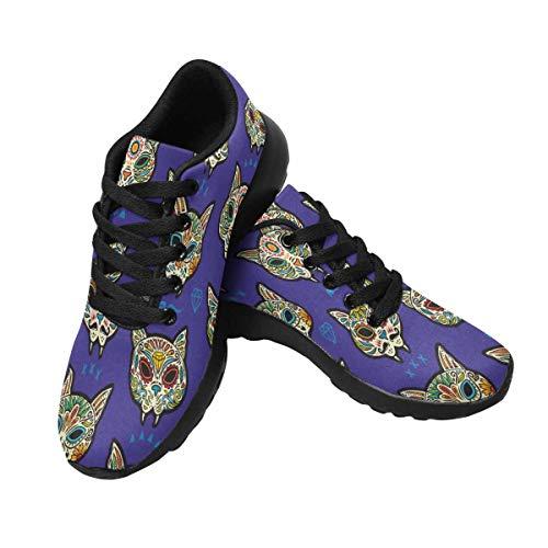 INTERESTPRINT Women's Cross Trainer Trail Sneakers Sugar Cat Skulls -