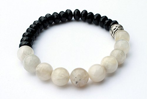 Faceted Black Onyx and White Moonstone Crystal Bracelet Phases of the Moon Ying Yang Boyfriend Gift - Facet Black Onyx