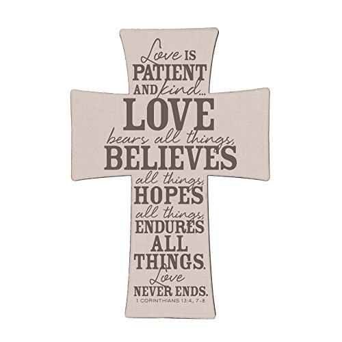 Lighthouse Christian Products 11878 'Love Is' Burlap and Linen Cross Wall Art, 10.25' x 15'
