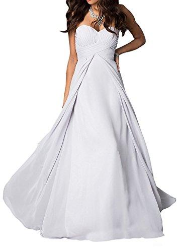 La Brautjungfernkleider Abschlussballkleider Weiß Elegant Herzausschnitt Marie Abendkleider Braut Chiffon Partykleider ZrqZ1fxw