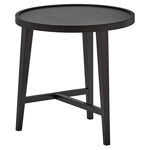 Rivet Mid-Century Modern Round Black Wood Nesting Side End Table, 20.5