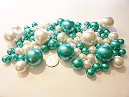 80 Jumbo & Assorted Sizes Turquoise Blue Pearls/Teal Blue Pearls & White Pearls Value Pack Vase Fillers - NOT INCLUDING the Transparent Water Gels for floating the Pearls (Sold Separately)