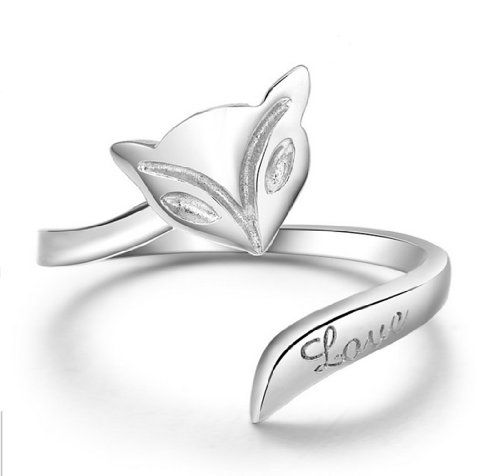 Silver Plated Silver Tone Fox Shaped Finger Rings For Girl,Adjustable Ring-RSS005 (Flash Spoon)
