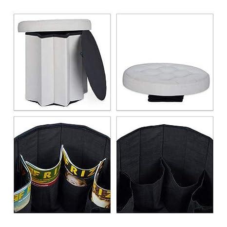 43 x 45 x 45 cm Relaxdays Tabouret Rond Pliant Coffre de Rangement Pliable Pouf si/ège Chaise Couvercle HxlxP cr/ème