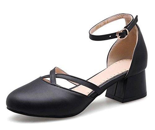 Easemax, Donna, A Punta Tonda, Eleganti, Dorsay, Con Cinturino Alla Caviglia, Sandali Con Cinturino Alla Caviglia E Cinturino Nero