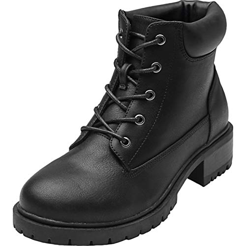 Women's Wide Width Ankle Boots - Low Chunky Heel Foldover Lace up Martin Boots,Warm Ankle Booties.(180611 Black 11.5WW)]()