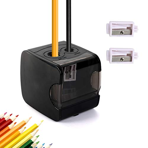 CyanCloud Electric Pencil Sharpener, Double Hole Battery or USB Operated, Sharpen No.2 and Colored Pencils for Home, School, Office(Black)