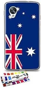 Carcasa Flexible Ultra-Slim GOOGLE NEXUS 5 de exclusivo motivo [Australia Bandera] [Gris] de MUZZANO  + ESTILETE y PAÑO MUZZANO REGALADOS - La Protección Antigolpes ULTIMA, ELEGANTE Y DURADERA para su GOOGLE NEXUS 5