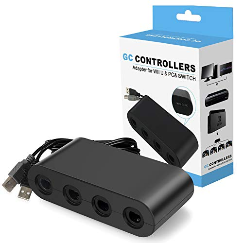 - Switch Gamecube Controller Adapter, Super Smash Bros Gamecube Adapter for Nintendo Switch, Wii U and PC USB with 4 Ports - Plug & Play, No Drivers Needed