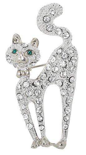 Green Eyed Cat Brooch Pin 1.95
