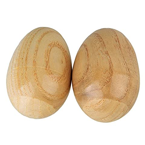 BQLZR Musical Percussion Instruments Wooden Egg Shakers Rhythm Rattle for Baby Kids Pack of 2 (Musical Instrument Accessories)