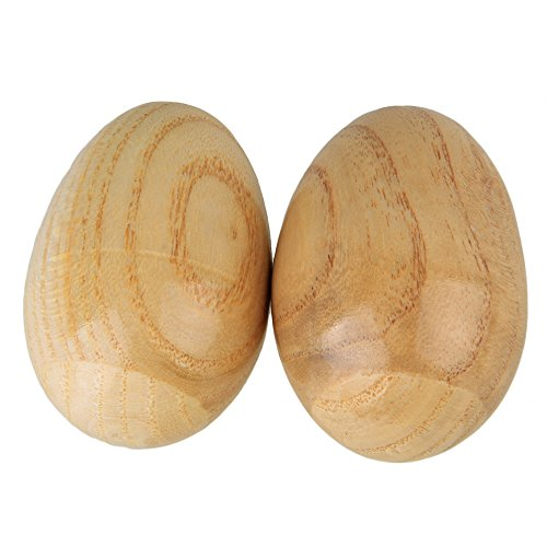 Lovermusic Natural Finish Percussion Wooden Egg Shakers Musical Instrument Toy Pack of 2