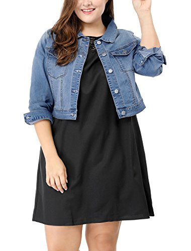 - uxcell Women's Plus Size Button Closed Cropped Denim Jacket Light Blue 2X
