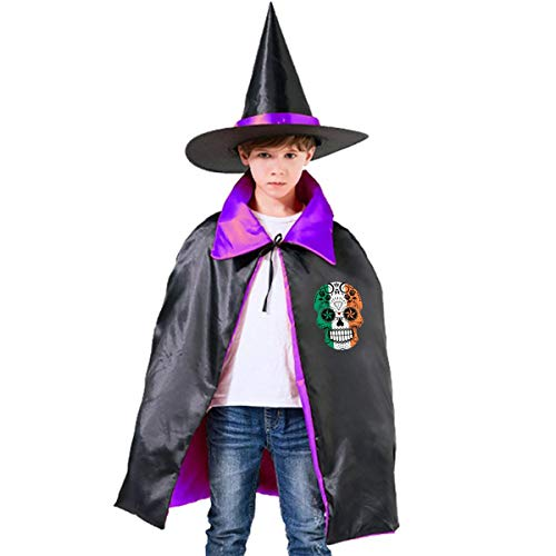 Wodehous Adonis Sugar Skull With Flag Of Ireland Kids Halloween Costume Cape Witches Cloak Wizard Hat Set -