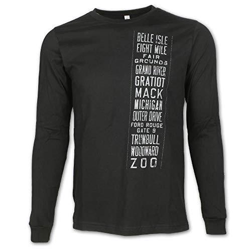 Detroit Scroll Trolley Tracks Long Sleeve T-Shirt, Black, Medium (Girlfriend Patti La Belle)