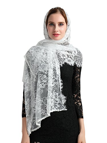 Wedding Lace Headcovering Floral Scarf Lace Bolero S08 (Ivory) by Lemandy