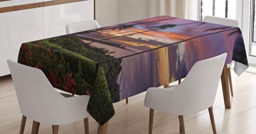 - Lunarable Hawaiian Sunrise Tablecloth, Manele Bay Scene on The Island of Lanai Long Exotic Trees, Dining Room Kitchen Rectangular Table Cover, 60 W X 90 L Inches, Olive Green and Multicolor