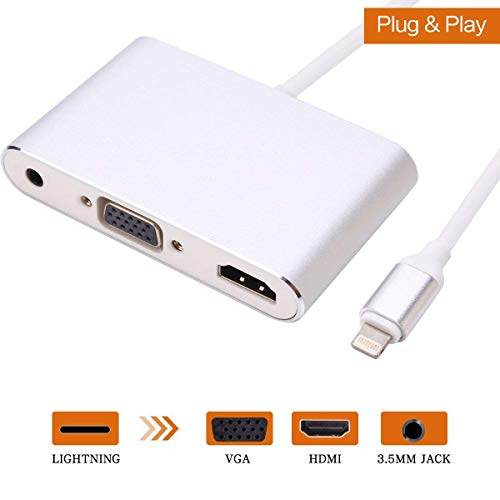 LONOSUN Light ning To HDMI/VGA/Audio Adapter Converter Cable,3 IN 1 Light ning 8 Pin to Digital AV Multiport HDMI VGA & Audio Adapter with Micro USB Charging Cable + 3.5mm Audio Port for iPhone/ipad