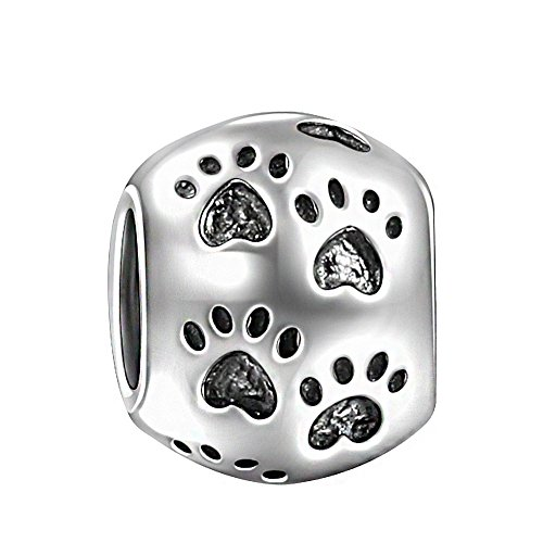 SOUFEEL Dog Paw Print Charm 925 Sterling Silver Charms for Bracelets Cat Paw Bead for Mother's (Dog Theme Charm Bracelet)