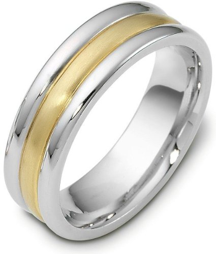 Titanium Ring Dora (Titanium & 18 Karat Yellow Gold 7mm Plain Wedding Band Ring - 12.25)