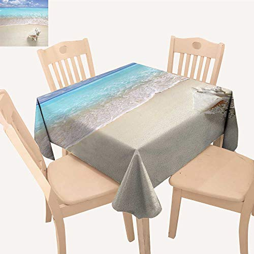 UHOO2018 Printed Fabric Tablecloth Square/Rectangle Beach Pearl Necklace Shell Holiday Horiz Caribbean Tropical Coast Wedding Party Restaurant,52x 52 inch
