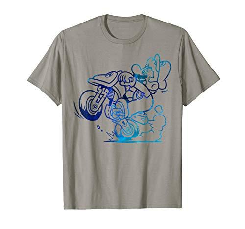 Nintendo Mario Kart Blue Watercolor Wheelie Graphic T-Shirt