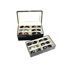 Black Leather Box 12 Slots For Eyeglass Sunglass Glasses Display Case Storage Organizer Collector(watch/jewelry box)