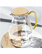 DUJUST Glass Pitcher with Lid [68 oz], Elegant Diamond Design Water Pitcher with Handle, Decoration for Room, High Durability Water Glass Carafe for Ice Tea Maker, Beverage, Hot/Cold Coffee