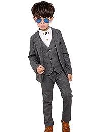 Boys Slim Fit Suits Set 3-Pcs Prom Tux Suit Jacket Vest Pants 3Y-12Y